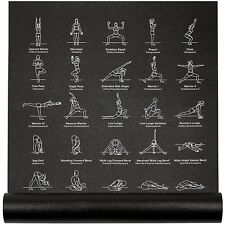 NewMe Fitness Instructional Yoga Mat, Black, Printed w/ 70 Illustrated Poses,...