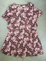 MONSOON PINK FLORAL DRESS WITH SHORT SLEEVES & DOUBLE TOP WITH A -LINE SKIRT-14