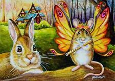 40% OFF SALE ACEO Limited Edition Print Sunrise Fairy Mouse Flute Rabbit Cottage