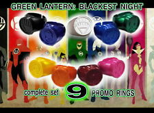 GREEN LANTERN  promo complete 9 RING SET  Blackest Night 2010