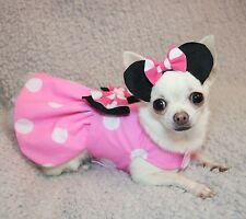 Handmade Dog Dress For Small Dogs - Pink Disney Minnie Mouse - Puppy Chihuahua