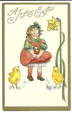 Artist Signed Gd A Joyous Easter Girl chicks eggs Fantasy