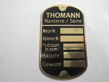 Nameplate Thomann Nanterre Vintage Car Motorcycle Shield Plate Plaque