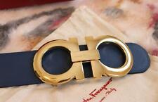 Salvatore Ferragamo Blue Black Reversible Belt X-LARGE Gold Buckle 1.5 Inch Wide