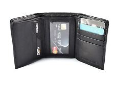 New Black Leather Men's Small Trifold Wallet Credit Card ID Holder Coin Purse