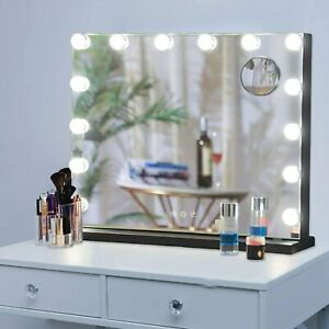 Illuminated Hollywood LED Makeup Vanity Mirror with Lights Stand Magnifying Desk