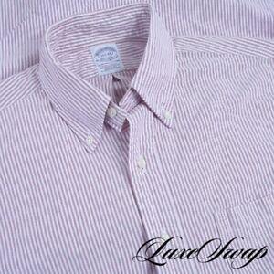 Brooks Brothers Made in USA Extra Slim White Pink Stripe OCBD Oxford Shirt 15.5