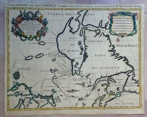 CANADA NOUVELLE FRANCE 1696 by HUBERT JAILLOT ANTIQUE LARGE MAP 17TH CENTURY