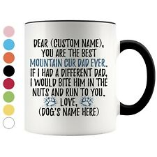 Personalized Mountain Cur Dog Dad Coffee Mug, Cur Dog Daddy Owner Men Gift