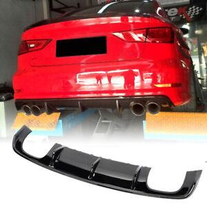 Fits Audi S3 A3 Sline Sedan 13-16 Rear Bumper Diffuser Lip Spoiler Gloss black