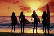 Surfing Girls Poster - Tropical Beach Sunset Full Size 24x36 - Bikini Girls Surf