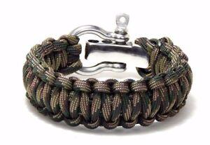 Premium 550 Paracord Survival Bracelet Recon Camo S/S Shackle Hand Made USA