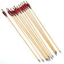 12PCS Handmade Wood arrows Turkey Feather Hunting Recurve Longbow Compound bow