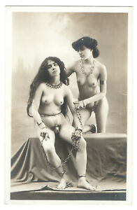 Old French NUDE Lesbian girls slaves in chain Chastity Belt PHOTO Postcard 1900s