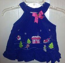 Girls Holiday Dress Size 12 Months Blue Winter Wonderland Scene Embroidered