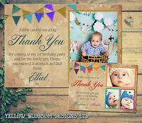 10 Thank You Card With Photo Personalised Christmas Birthday Christening Bunting