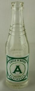 Vintage ACL Circle A Brand Dr Pepper Bottle 7oz Green Square Label Charlotte, NC