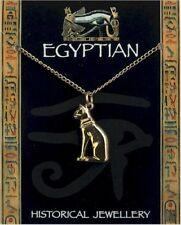 Colgante gato egipcio en la cadena de oro plateado