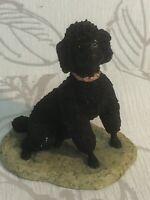 Vintage BORDER FINE ARTS Black POODLE FIGURINE 1983 SIGNED AYRES Dog Ornament