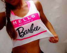 t-shirt Women cute crop top hello my name is Barbie BRAND NEW gym summer