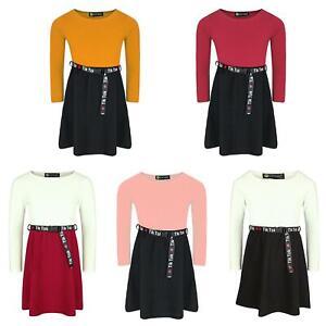 Girls Tik Tok Belt Skater Dress Long Sleeve Top Textured Skirt Casual 3-14 Years