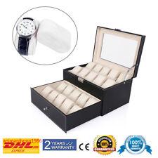 Uhrenbox Uhrenkoffer für 20 Uhren Uhrentruhe Uhrenkasten Uhrenschatulle Schwarz