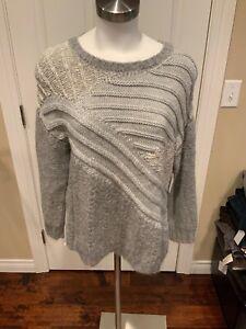 "Current/Elliott Gray ""Mixed Cable"" Alpaca Crewneck Sweater, Size (2) Medium NWT"