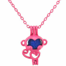 R70 Hot Pink plated Alloy Pearl Beads Cage Short Necklace 24mm Heart Monkey
