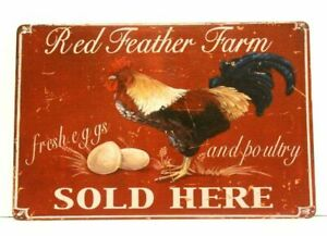 Farm Fresh Eggs Tin Poster Sign Vintage Style Country Kitchen Home Market Shop 2