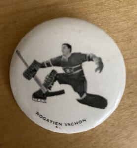 1970-71 Montreal Canadiens pinback button macaron Rogatien Vachon