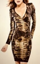 AX Paris Womens Metalic snake Bodycon Ruched Midi Dress, V Neck, Long Sleeve uk8