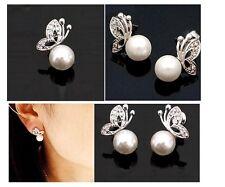 Women's Fashion Imitation Pearl Rhinestones Butterfly Stud Earrings Jewellery UK