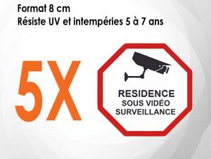 5 autocollants (8 CM) panneau résidence Alarme sous vidéo surveillance (M057)
