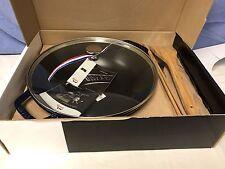 STAUB Cast Iron Wok Perfect Pan Dark Blue Glass Lid 4.5 Quart NIB NEW