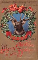 LITCHVILLE ILLINOIS ELKS CLUB~BPOE MERRY CHRISTMAS TO YOU BROTHER POSTCARD c1909