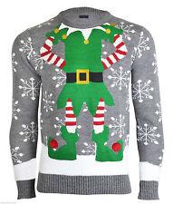 NOROZE Mens Unisex Novelty Elf Joker Reindeer Retro Christmas Jumper Pullover