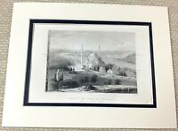 1860 Antique Engraving Print Ancient Mosque Tomb of Suliman Constantinople Old