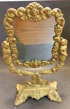 "Antique Cast Iron Victorian Swiveling Vanity Mirror 14.38"" x 8.5"" Very Good Cond"