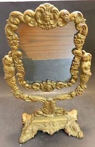 "Antique Cast Iron Victorian Swiveling Vanity Mirror 14.38"" x 8.5"" Very Good Cond"