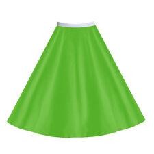 LADIES 50s Costume Musical Plain SATIN or Polyester Jive Rock nRoll Circle Skirt
