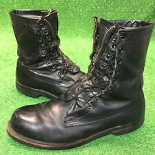 VINTAGE ADDISON MEN'S COMBAT BOOTS Rare Double Sided Lace W Zipper Size 9