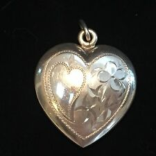 STERLING SILVER  HEART CHARM WITH ENGRAVED DESIGN