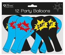 Pack of 12 Children's Party Balloons - Boy's Black & Blue Superhero Slogans
