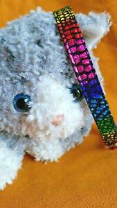 Cat Collar, Handmade - Metallic Rainbow Dots On Black ... Party Kitty?