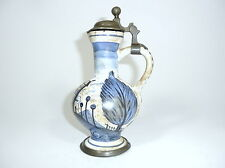 Halskrug Jug Pitcher With Tin Outfit 19 Century