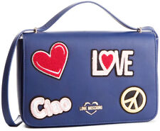 NEWT 100% AUTH LOVE MOSCHINO BLUE ECO LEATHER W EMBROIDERY W STRAP  BAG PURSE