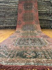 Bohemian Antique 1930-1940s, Wool Pile Vegy Dye Avshar Runner Rug 3x11ft