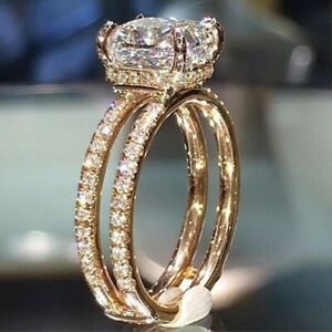 Gorgeous Jewellery 14k Gold Plated Princess Cut CZ Wedding Ring for Women Girl