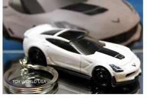 Custom Key Chain Chevy C7 Z06 Corvette white