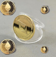 Gold Plated ETH Commemorative Collectible Ethereum Miner Coin Physical Gift